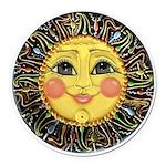 Sun Face #2 (blk) Round Car Magnet