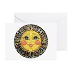 Sun Face #2 (blk) Greeting Cards (Pk of 10)