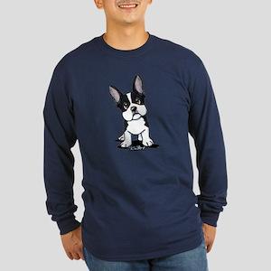 French Bulldog B/W Mask Long Sleeve Dark T-Shirt