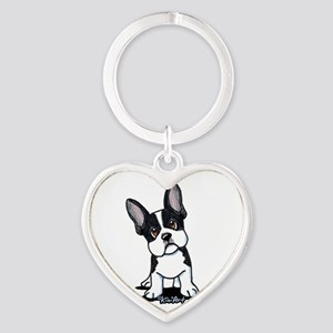 French Bulldog B/W Mask Heart Keychain