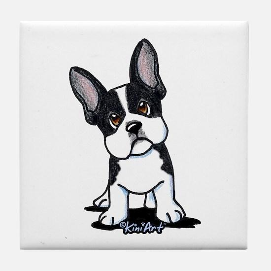 French Bulldog B/W Mask Tile Coaster