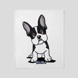 French Bulldog B/W Mask Throw Blanket