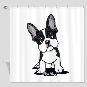 French Bulldog B/W Mask Shower Curtain