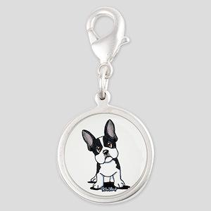 French Bulldog B/W Mask Silver Round Charm