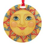 Sun Face #3 - Summer Round Ornament