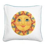 Sun Face #3 - Summer Square Canvas Pillow