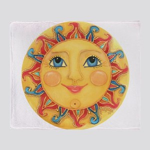 Sun Face #3 - Summer Throw Blanket