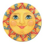 Sun Face #3 - Summer Round Car Magnet