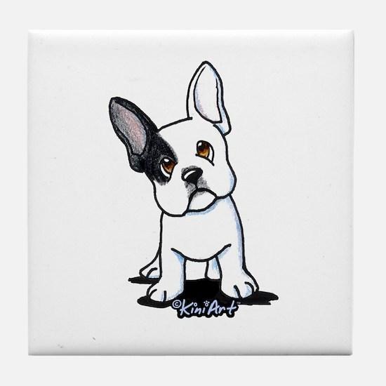 B/W French Bulldog Tile Coaster