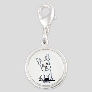 White French Bulldog Silver Round Charm