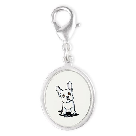White French Bulldog Silver Oval Charm
