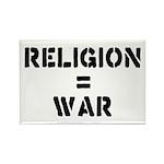 Religion Equals War Atheism Rectangle Magnet (10 p