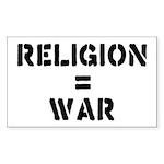 Religion Equals War Atheism Sticker (Rectangle)