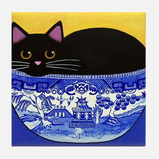 Funny Black cat in blue willow bowl Tile Coaster