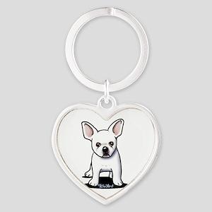White Frenchie Heart Keychain