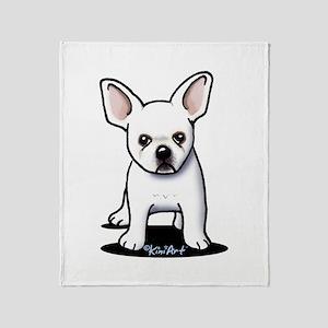 White Frenchie Throw Blanket