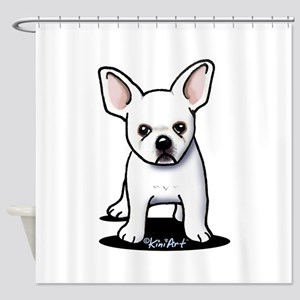 White Frenchie Shower Curtain