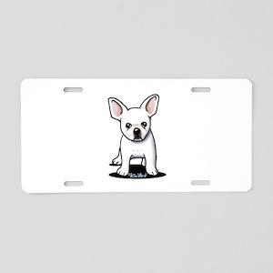 White Frenchie Aluminum License Plate