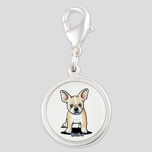 B/W French Bulldog Silver Round Charm