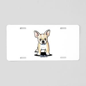 B/W French Bulldog Aluminum License Plate