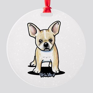 B/W French Bulldog Round Ornament
