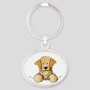 Pocket Golden Retriever Oval Keychain