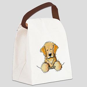 Pocket Golden Retriever Canvas Lunch Bag