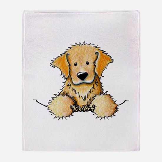 Pocket Golden Retriever Throw Blanket