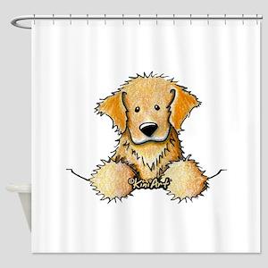 Pocket Golden Retriever Shower Curtain