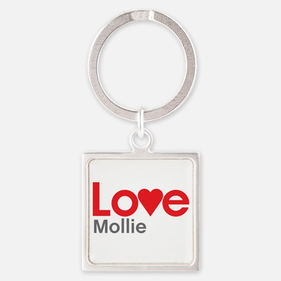 I Love Mollie Square Keychain