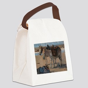 Vintage Painting of Two Pack Mules Canvas Lunch Ba