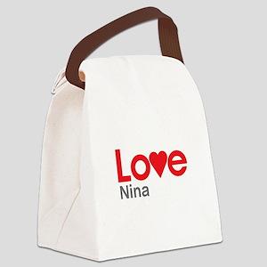 I Love Nina Canvas Lunch Bag