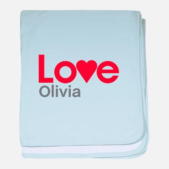 I Love Olivia baby blanket