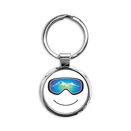 Happy Skier/Boarder Round Keychain