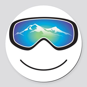 Happy Skier/Boarder Round Car Magnet