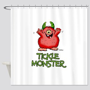 Red Tickle Monster with horns and one eye Shower C