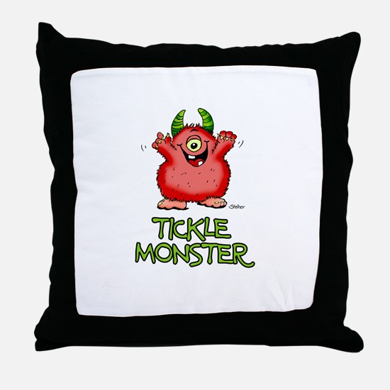 Red Tickle Monster with horns and one eye Throw Pi