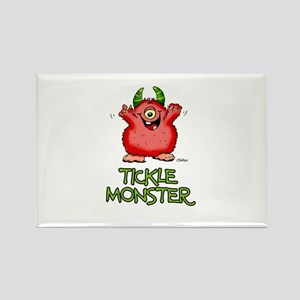 Red Tickle Monster with horns and one eye Rectangl