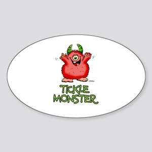 Red Tickle Monster with horns and one eye Sticker