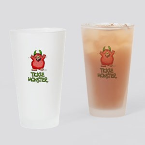 Red Tickle Monster with horns and one eye Drinking