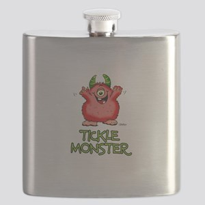 Red Tickle Monster with horns and one eye Flask