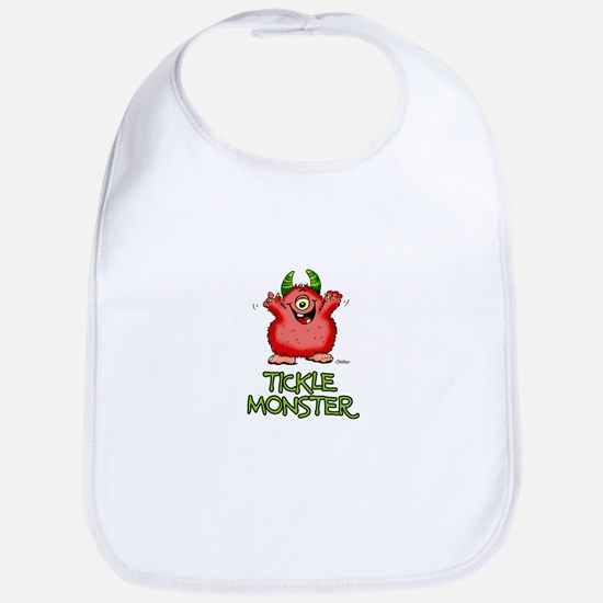 Red Tickle Monster with horns and one eye Bib