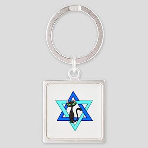 Jewish Cat Stars Square Keychain