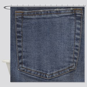 Blue Jeans Pocket Shower Curtain