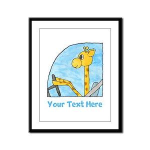 Giraffe Driving A Car. Your Text. Framed Panel Pri