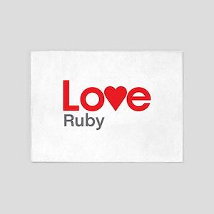 I Love Ruby 5'x7'Area Rug
