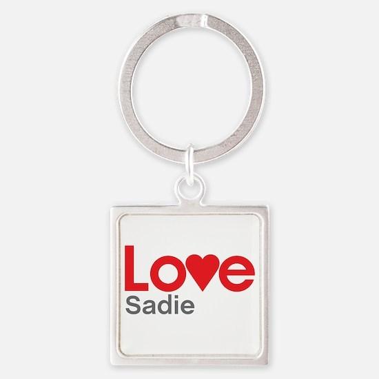 I Love Sadie Square Keychain