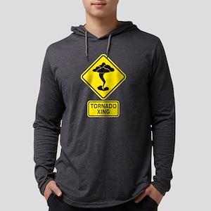 Tornado Crossing Sign Mens Hooded Shirt
