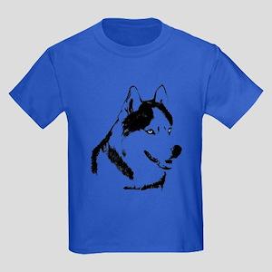 Husky Malamute Sled Dog Art Kids Dark T-Shirt