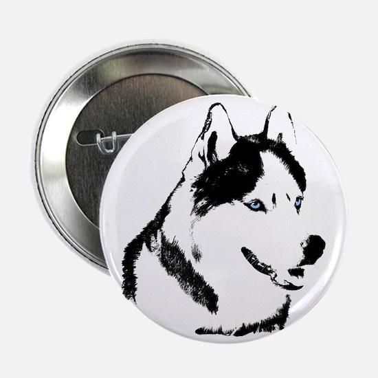 "Husky Malamute Sled Dog Art 2.25"" Button"